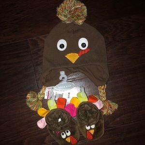 Infant turkey Beanie and booties